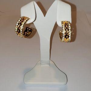 Kenneth Jay Lane Pierced Earrings Gold & Crystal